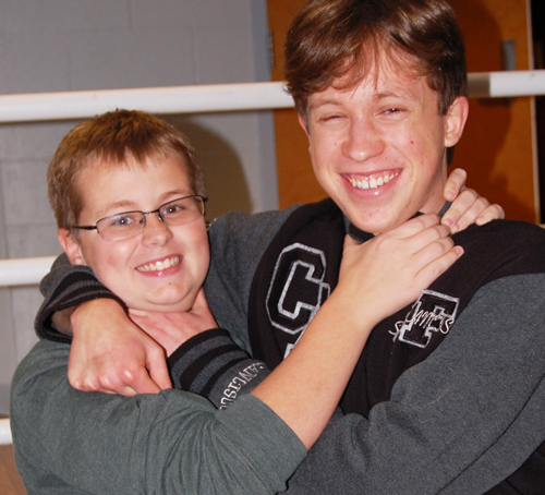 JO ANN KIRKLAND PHOTO | Eighth grader Jack Lang (left) will get homework help and advice this year from his buddy, Quinn Hundgen, who is a senior.