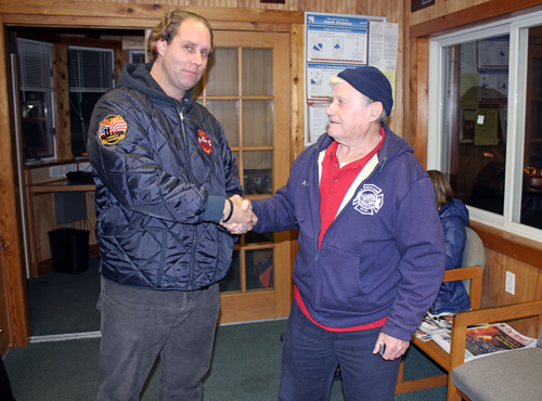 BEVERLEA WALZ PHOTO | Shelter Island fire commissioner candidates (l-r) John Beresky and incumbent Andy Steinmuller just after the vote was tallied and announced Tuesday night at Center Firehouse.
