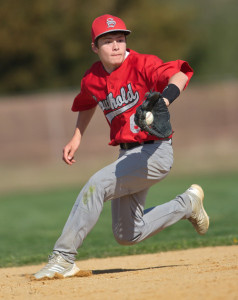 GARRET MEADE PHOTO | Southold second baseman Sean Moran backhanded this ground ball but was unable to make a play on it.
