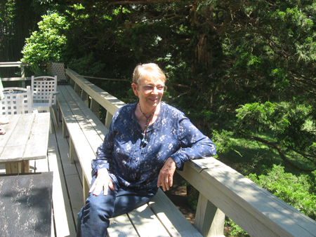 CAROL GALLIGAN PHOTO | Jan Culbertson on the deck of her home in Hilo Shores.