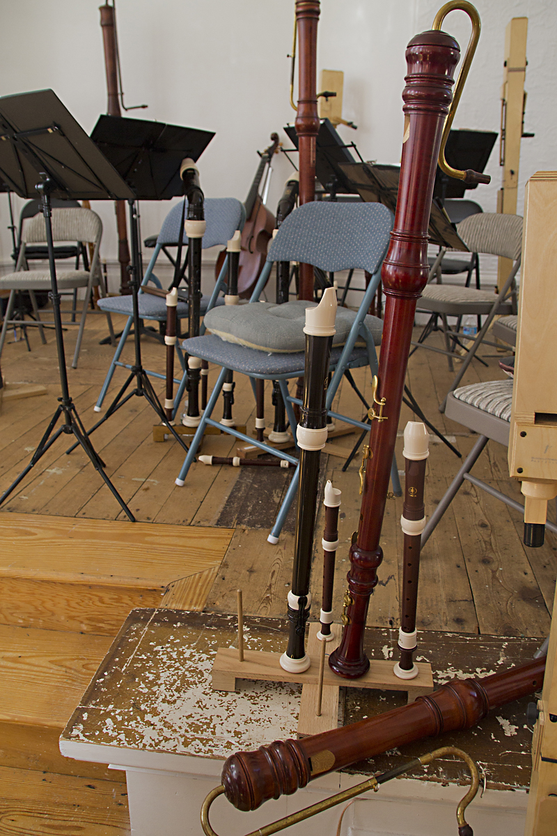 The recorders used in the orchestra's anniversary concert were all different sizes. (Credit: Paul Squire)