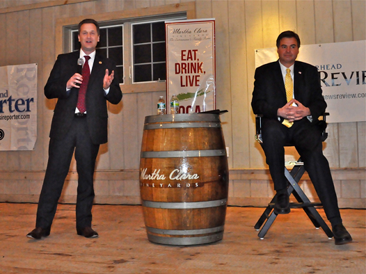Republican Riverhead Town Supervisor Sean Walter (left) in debate with Democrat Al Krupski at Martha Clara Vineyards last Monday night, as both men seek the Suffolk County Legislature's 1st District seat.