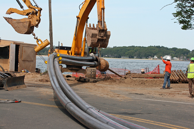 PSEG construction on Shelter Island. (Credit: Shelter Island Reporter, file)