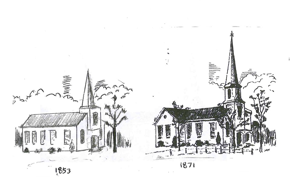 Sketches by Ken Ackley of Riverhead show the church as it looked in the past. (Credit: Meghan Cavanagh, courtesy)