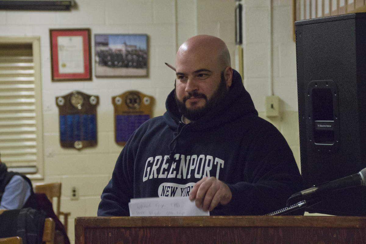 Marc LaMaina, owner of Lucharitos in Greenport, pitches an expansion of his Mexican restaurant to the Greenport Planning Board Thursday evening. (credit: Paul Squire)