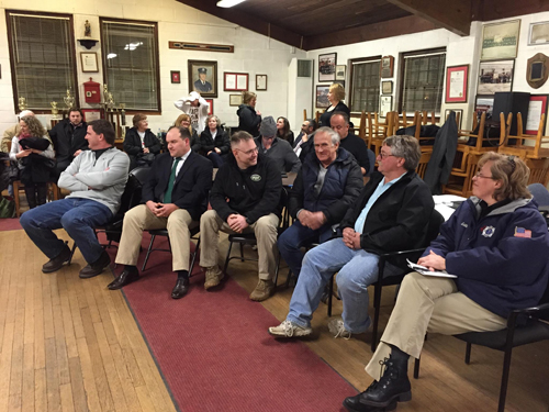 Greenport Village Board candidates awaiting election results Wednesday night. (Credit: Paul Squire)