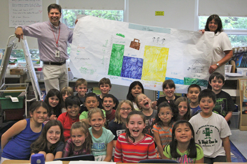 Jim Gilvarry's third-grade class at Southold Elementary School recently interviewed 375 people to find out what residents like best about living in Southold Town in honor of the town's 375th anniversary. (Credit: Jen Nuzzo photos)