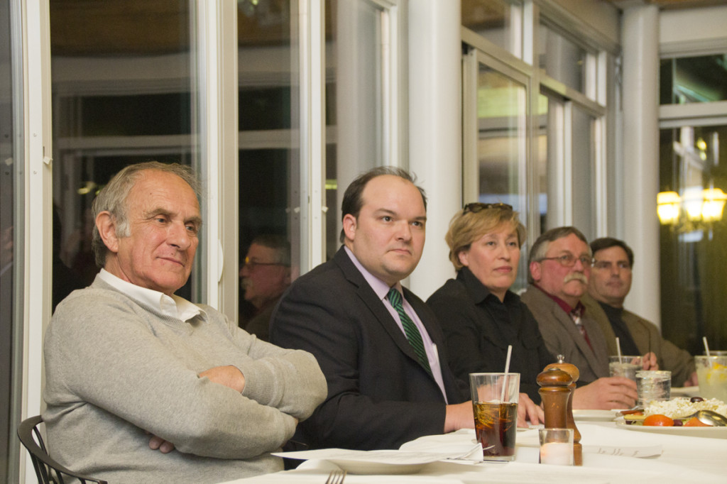 (L-R) Candidates at the Meet the Candidates night in East Marion Tuesday evening. (Credit: Paul Squire)