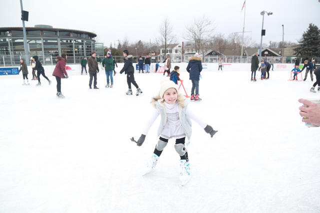 Victoria Winter of Mattituck enjoys the ice skating rink at Greenport's Mitchell Park. (Credit: Krysten Massa)