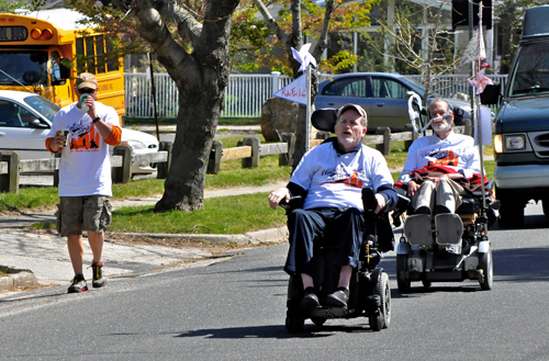 Gerry Hayden and Chris Pendergast make their way down Old Sound Avenue in Mattituck last during the annual Ride for Life event last year. (Credit: Tim Kelly file)