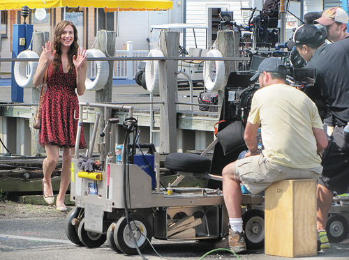 "(Credit: Claire Leaden) Allison Williams films a scene for HBO's ""Girls"" outside Claudio's in Greenport in June 2013."