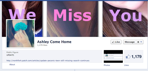 A screenshot of the Facebook page called Ashley Come Home.