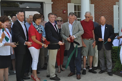 Bank employees and Supervisor Scott Russell (Center) celebrated the opening of Bridgehampton National  Bank's new location in Mattituck. (Cyndi Murray photo)