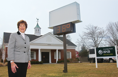BARBARAELLEN KOCH PHOTO | Bridgehampton National Bank Mattituck branch manager Deborah Orlowski and her employees will be moving into the former SCNB building on the Main Road in Mattituck this summer after it is remodeled.