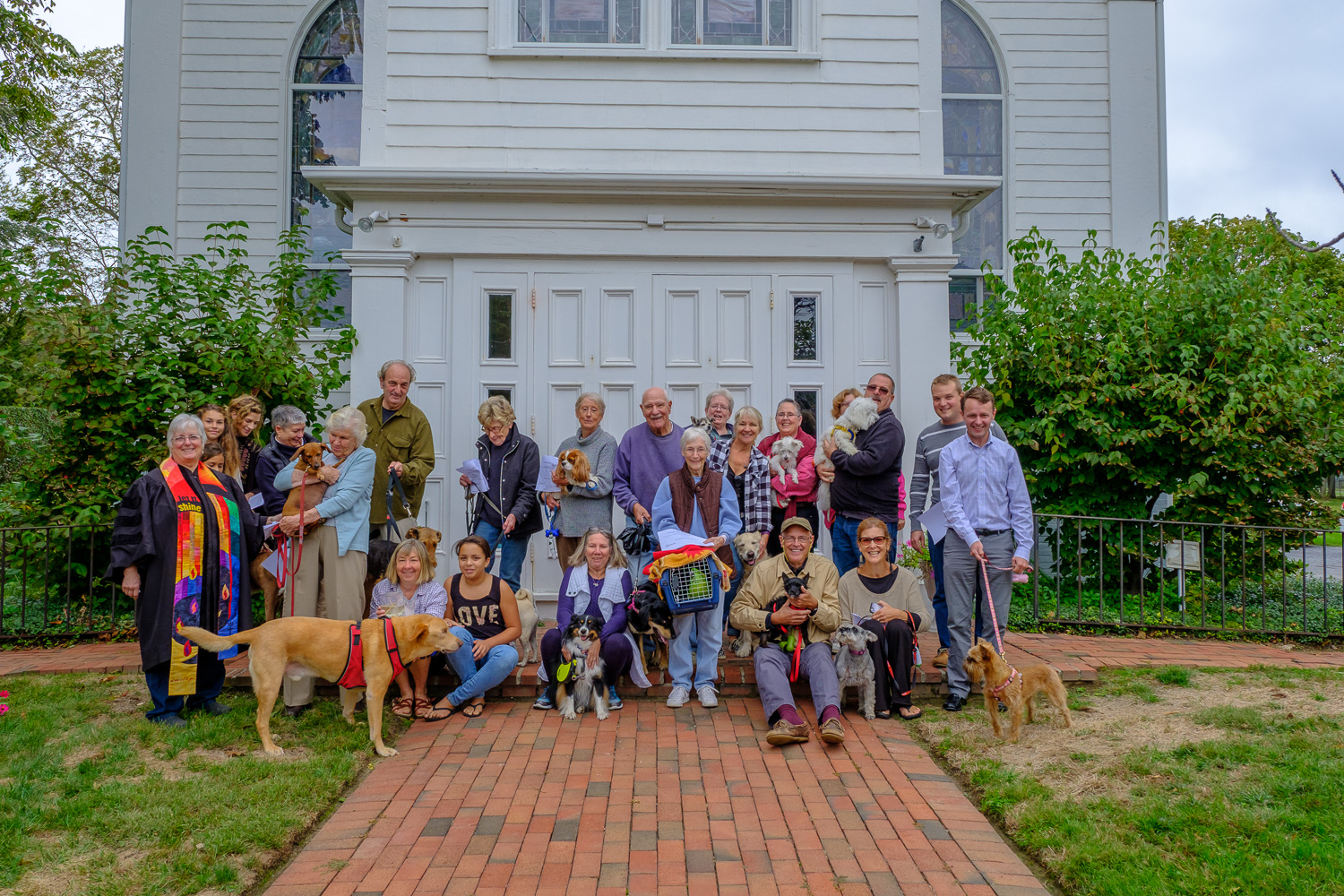 The animals and their owners gather for the blessing of the animals at Orient Congregational Church Sunday. (Credit: Jeremy Garretson of J.G. Photography)