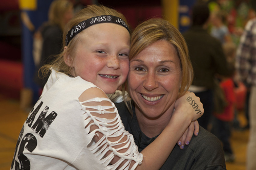 Camryn Koke with her mom Jennifer at Friday's fundraiser. (Credit: Katharine Schroeder)