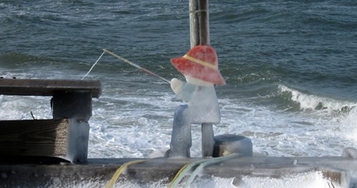 A 'fisherman' at Kenny's Beach in Southold last year. (Stanley Siejka courtesy photo)