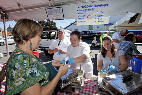 The crew from the Blue Canoe hands out chowder during the 2012 festival. (Credit: Katharine Schroeder file)