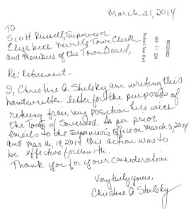The handwritten resignation letter submitted by former Southold Town justice court clerk Christine Stulsky on March 21. Click the letter to enlarge.