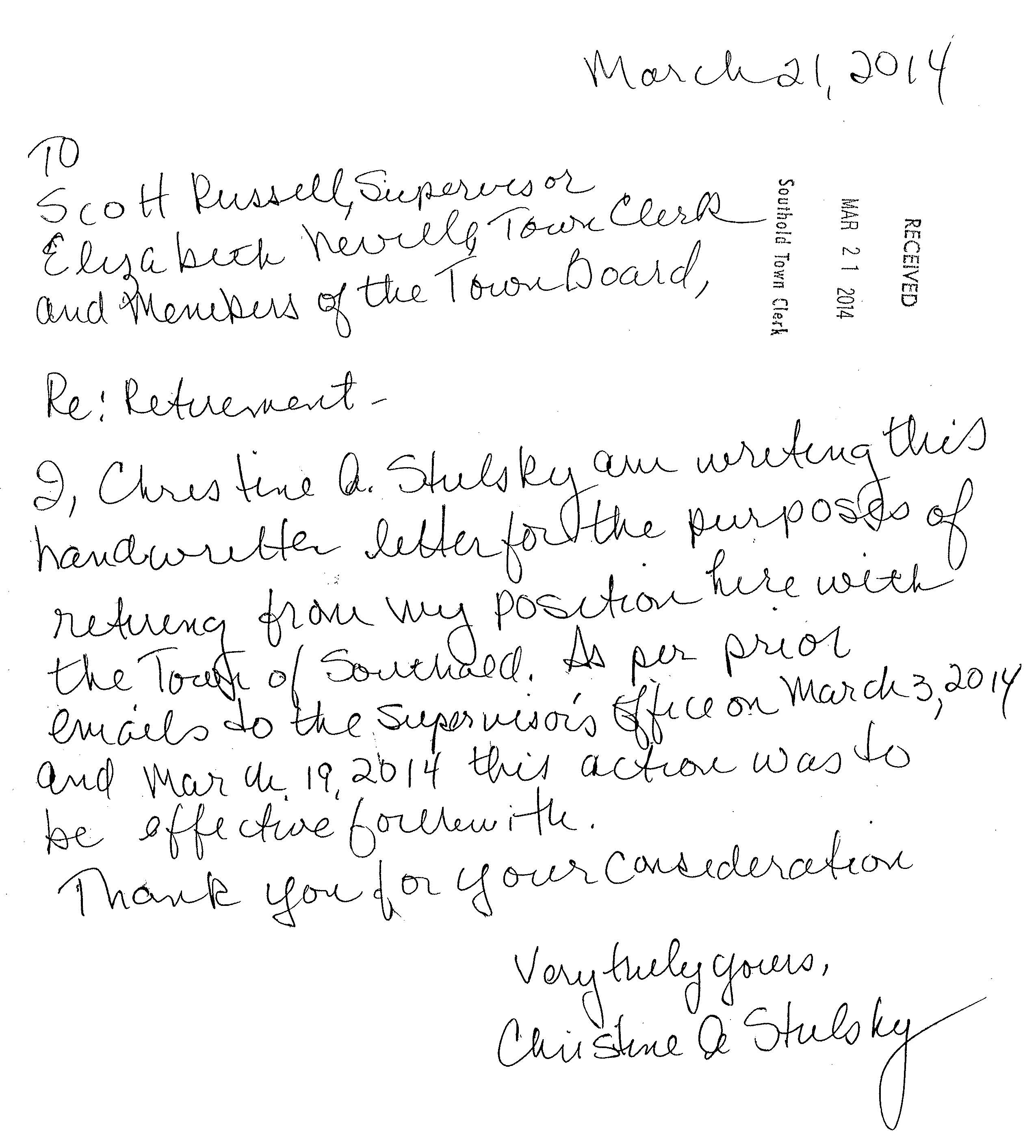The Handwritten Resignation Letter Submitted By Former Southold Town Justice Court Clerk Christine Stulsky On March