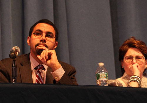 Education commissioner John King and state Board of Regents Meryl Tisch at a Common Core forum in November. (Carrie Miller file photo)