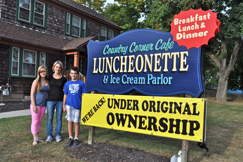 RACHEL YOUNG PHOTO | Country Corner Cafe owner Kelly Hunstein, center, with her two children: daughter Katie, left, and Ryan, right.