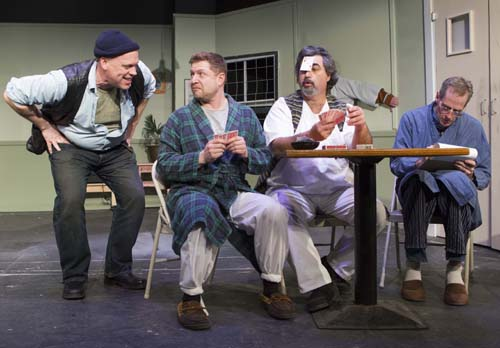 "Alan Stewart (from left), Derek Hoffman, John Hudson and Rusty Kransky in ""One Flew Over the Cuckoo's Nest"" at North Fork Community Theatre. (Credit: Katharine Schroeder)"
