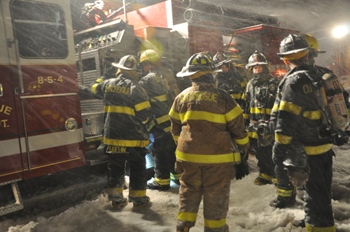 COURTESY PHOTO  |  Cutchogue firefighters faced brutal conditions last night during a rescue.