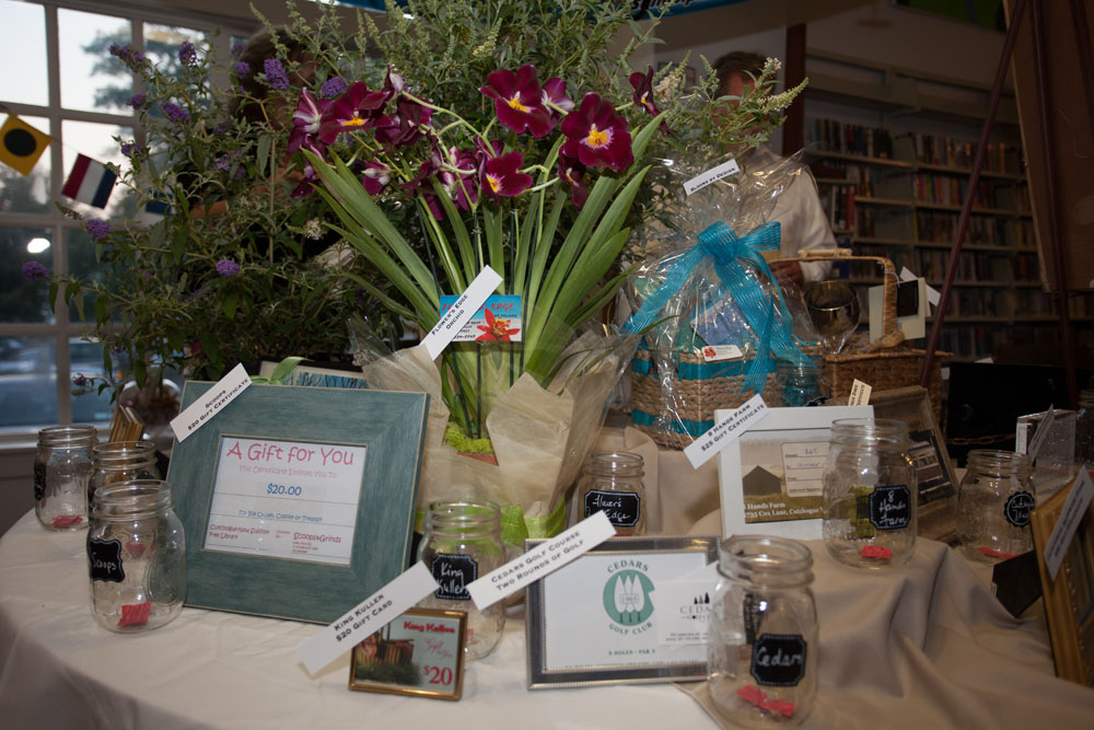 Raffle prizes donated by dozens of local businesses. (Credit: Katharine Schroeder)