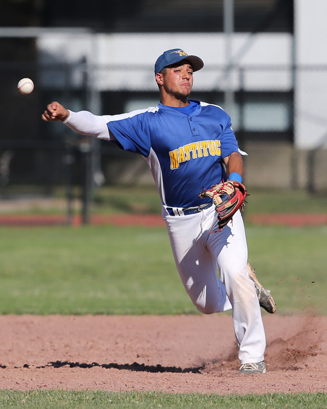 Shortstop Marcos Perivolaris makes a tough throw to first for the out.  (Credit: Daniel De Mato)