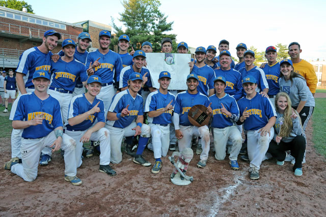 "Mattituck poses with the championship plaque and their ""Good Luck Gnome ""after they defeated Albertus Magnus 9-5 in extra innings in the Class B Baseball South East Regional Championship game at Mamaroneck High School in Mamaroneck. (Credit: Daniel De Mato) Daniel De Mato"