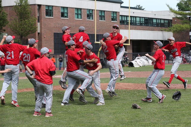 The Celebration begins as Southold defeats Tuckahoe 8-5  in the Class C Baseball Regional Championship game at Mamaroneck High School in Mamaroneck. (Credit: Daniel De Mato)