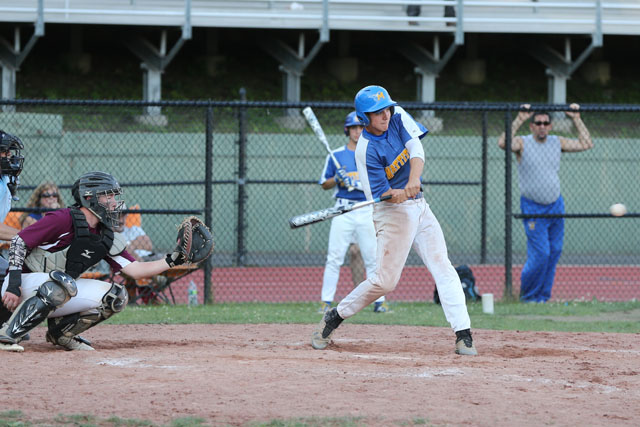 John Dwyer hits an RBI double in the 10th inning to put Mattituck ahead 5-4. (Credit: Daniel De Mato)