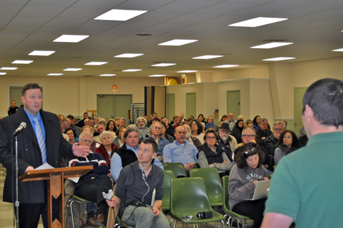 JOSEPH PINCIARO PHOTO   Mike Tessitore, of Hunters for Deer, voiced his concern with plans to proceed with a deer culling program in Southold on Thursday night.
