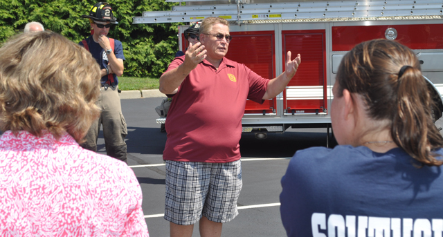 Ty Cochran's remarks kicked off Sunday's Southold Fire Department christening. (Credit: Grant Parpan)