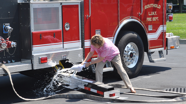 Southold's newest ladder truck is christened. (Credit: Grant Parpan)