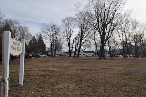 Southold Town was looking to amend its wireless facilities code to permit cell towers on historic sites, such as this parcel behind Town Hall. (Cyndi Murray photo)