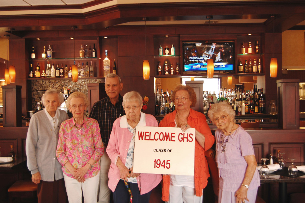 Members of Greenport's class of 1945 (from left) Agnes Halinauseau Dunn, Edna Turner Quartochia, Henry Santacroce Sr., Mary Becker Smart, Sue Mortensen Tasker and Alyce Kruszeski Doroski attend their 70th high school class reunion. (Credit: Nicole Smith)