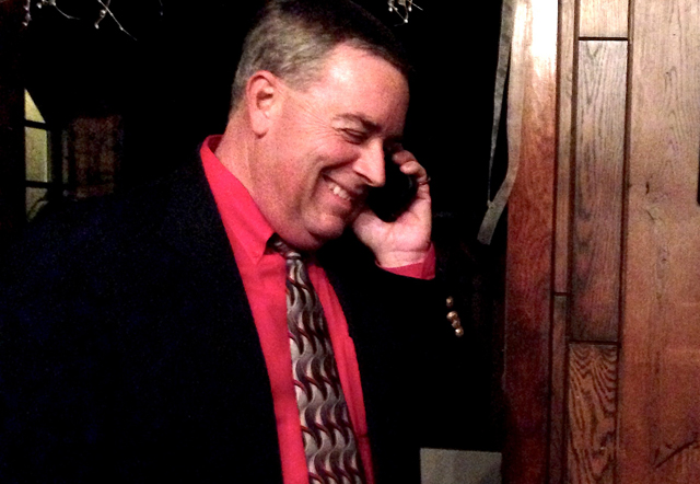 Southold Town Trustee Dave Bergen receives a concession call from opponent Abigail Field. (Credit: Cyndi Murray)