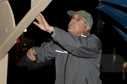 KATHARINE SCHROEDER FILE PHOTO | Greenport village administrator David Abatelli at a menorah lighting in Greenport last year.