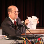 JENNIFER GUSTAVSON FILE PHOTO | Southold School District Superintendent David Gamberg during a recent public meeting on Common Core.