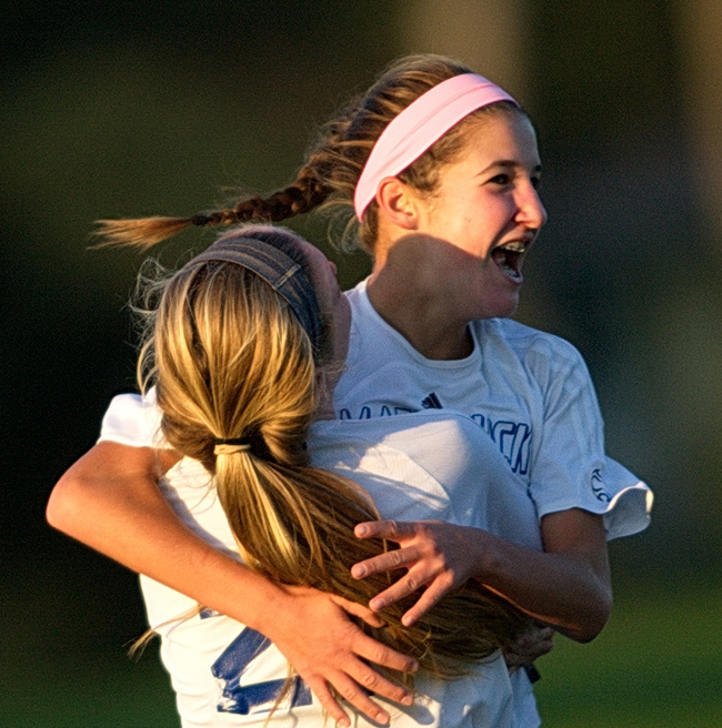 Mattituck freshman Jane DiGregorio celebrates her game-winning goal Saturday against Mercy. (Credit: Garret Meade)