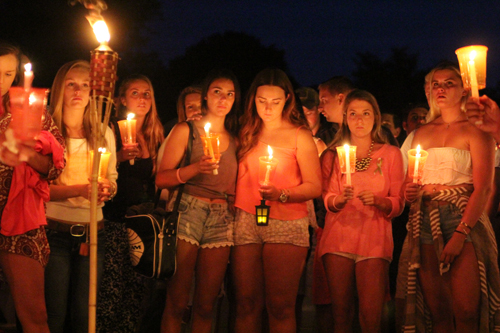 Friends of Kaitlyn Doorhy at a vigil in August. (Credit: Jen Nuzzo)