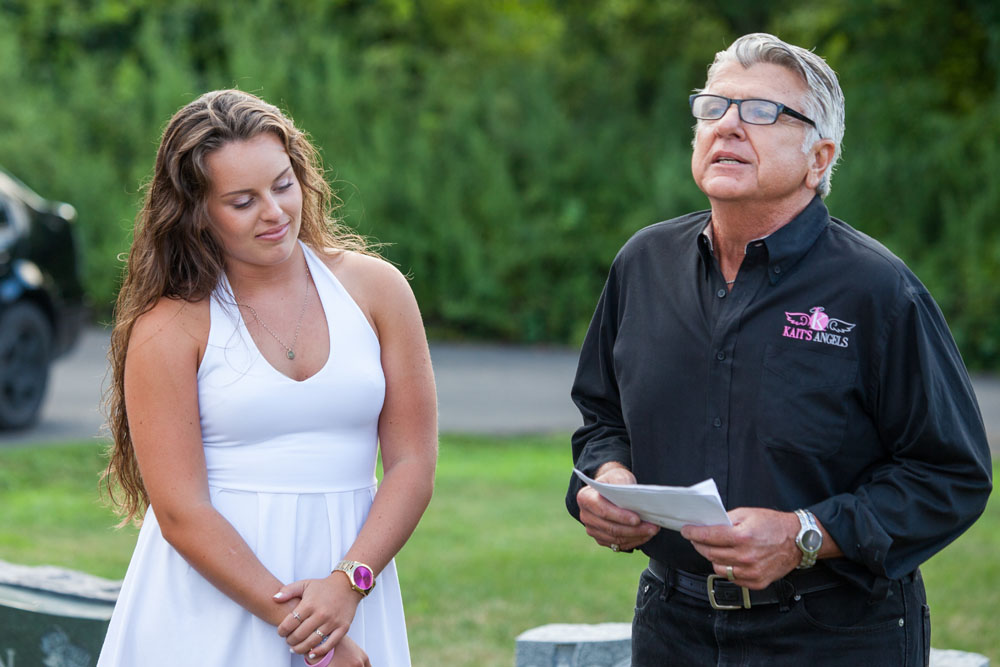 Carly Doorhy, Kaitlyn's sister, with Kait's Angels president William Araneo.