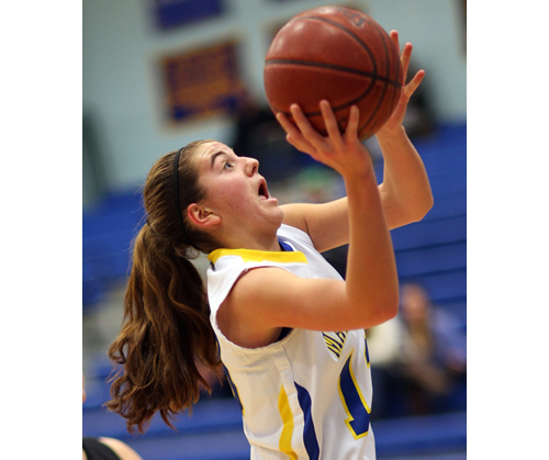 Mattituck freshman Liz Dwyer, pictured earlier this season, scored 31 points in the Tuckers' most recent win. (Credit: Garret Meade)