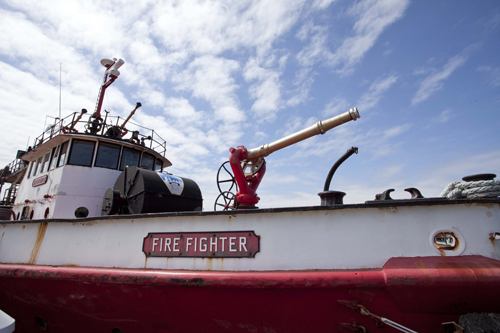 Fire Fighter docked in Greenport Village. (Credit: Katharine Schroeder, file)