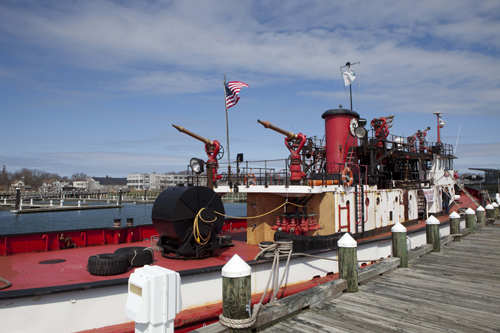 The fireboat Fire Fighter, when it was docked at Mitchell Park Marina in Greenport. (Credit: Katharine Schroeder, file)
