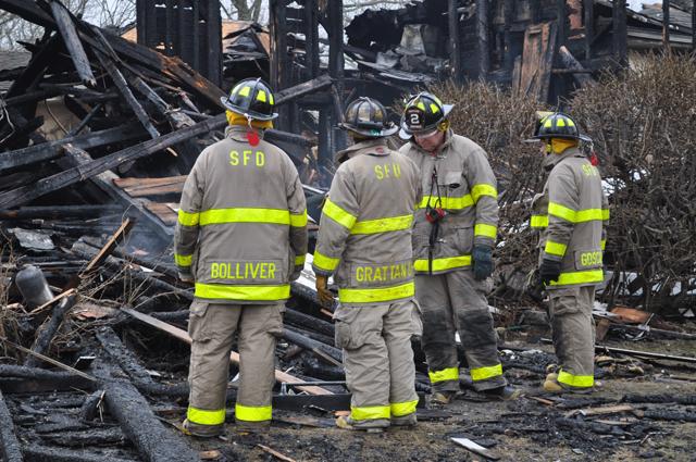 Firefighters battling the blaze in Southold March 15. (Credit: Grant Parpan)