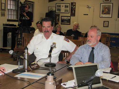 Southold Police Chief Martin Flatley discussed ferry traffic with the Greenport Village board Thursday. Photo by Tim Gannon