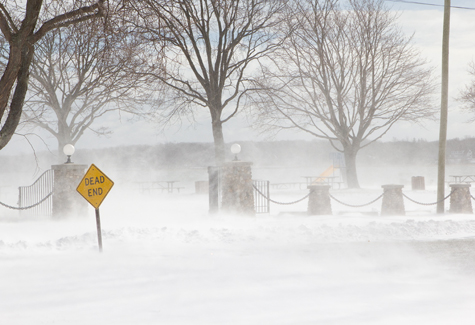 KATHARINE SCHROEDER PHOTO | Wind blows snow near Founders Landing.